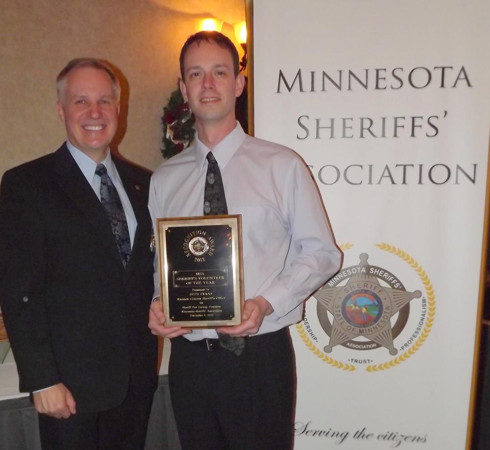 Minnesota Sheriff's Association Award to TCM staff Seth Evans in March 2013.