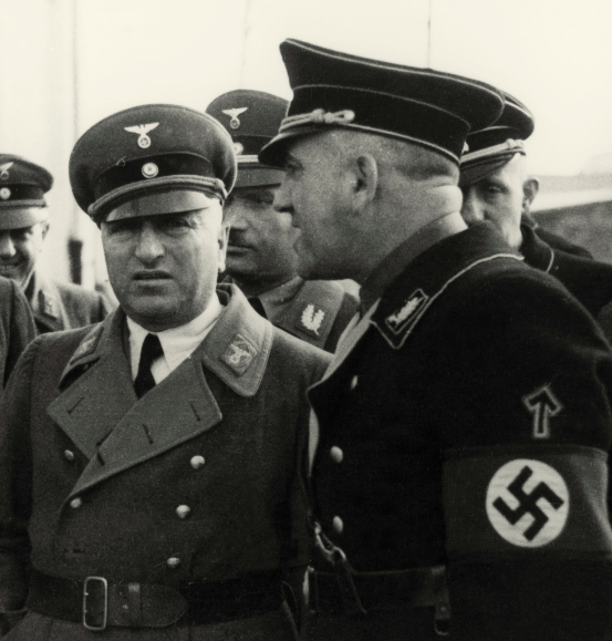 Theodor Eicke (right) with Robert Ley 1936 during inspection of Dachau