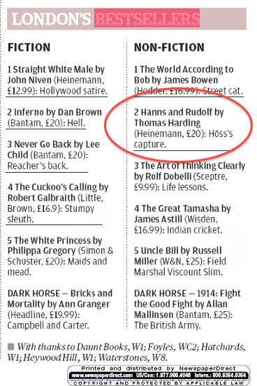 Evening Standard Bestseller List 5 Sep 2013