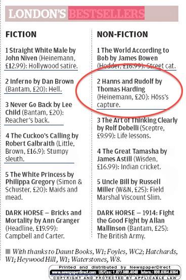 Evening Standard Bestseller List 5 Sep 2013