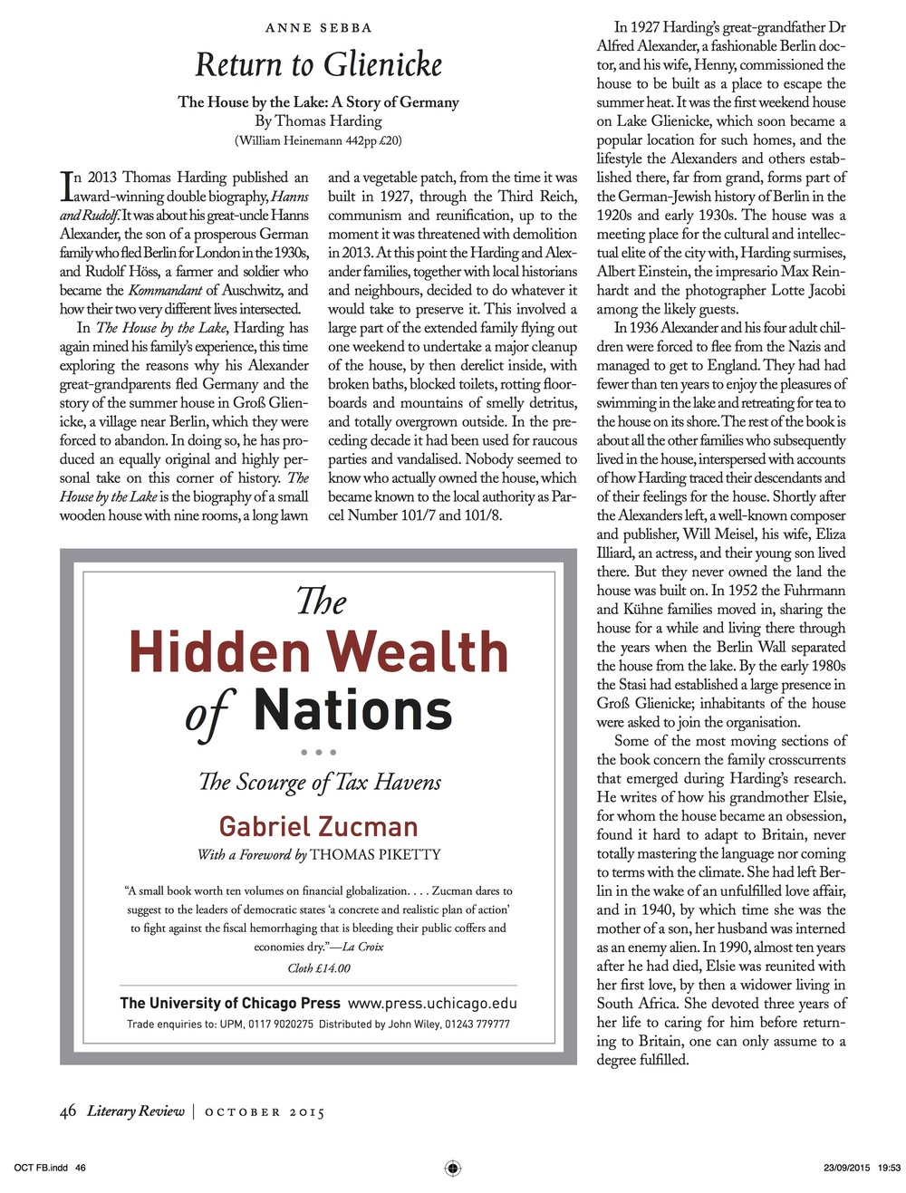 Literary Review 23 October 2015 p1