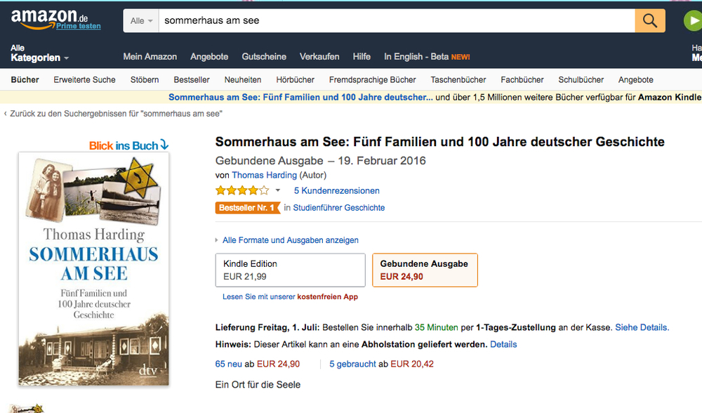 sommerhaus am see the house by the lake bestseller thomas harding. Black Bedroom Furniture Sets. Home Design Ideas