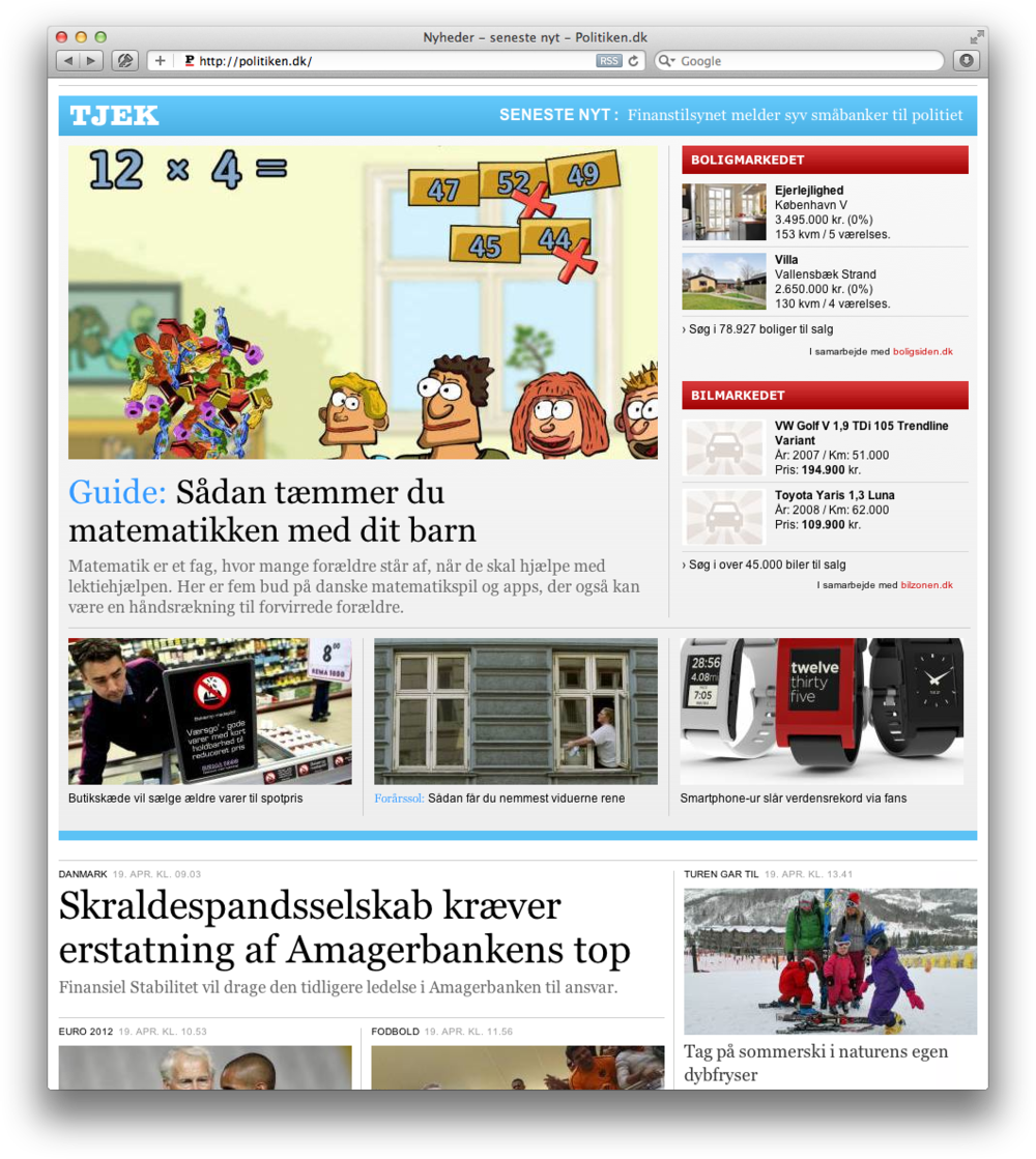 'Matemaslik' - the Danish version of Calculicious - was reviewed in Politiken, a major Danish newspaper
