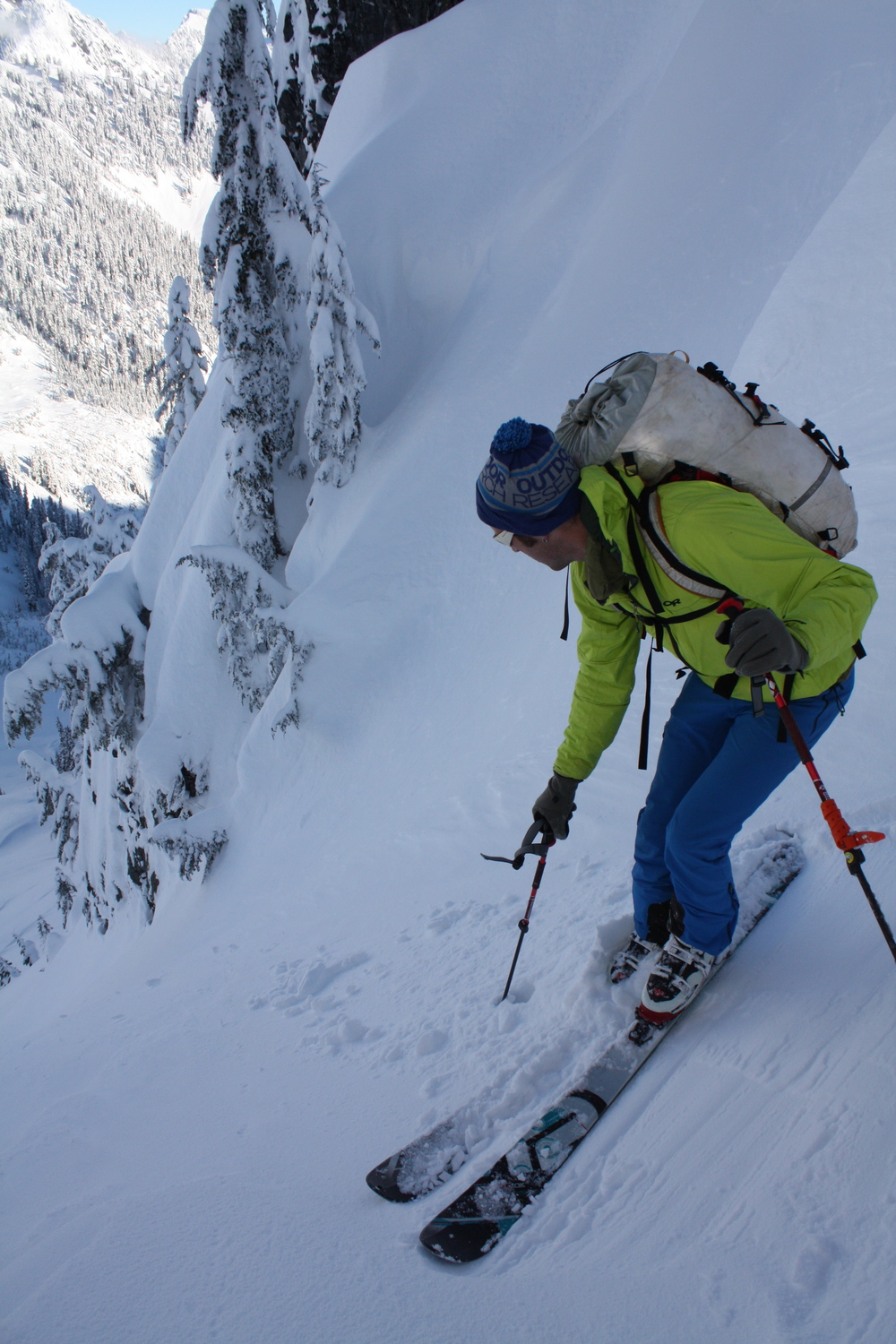 Forest McBrian skiing a Kendall couloir down into Silver Creek