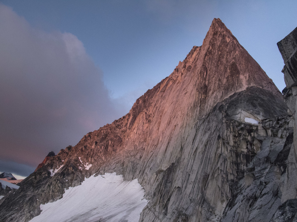 The morning of attempt 1 of the NE ridge of Bugaboo Spire.