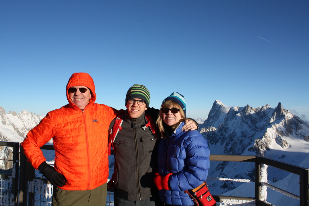 Douglas, Devin, and Irene Smart at the top of the Aiguille du Midi.