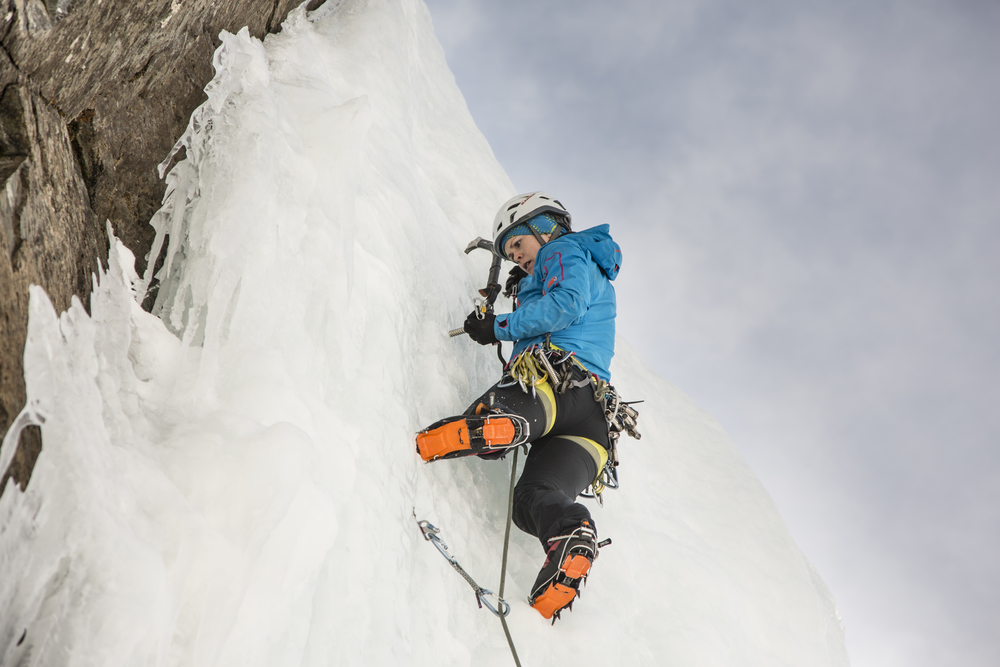 Getting comfortable on some steeper ice. Photo: David Moskowitz