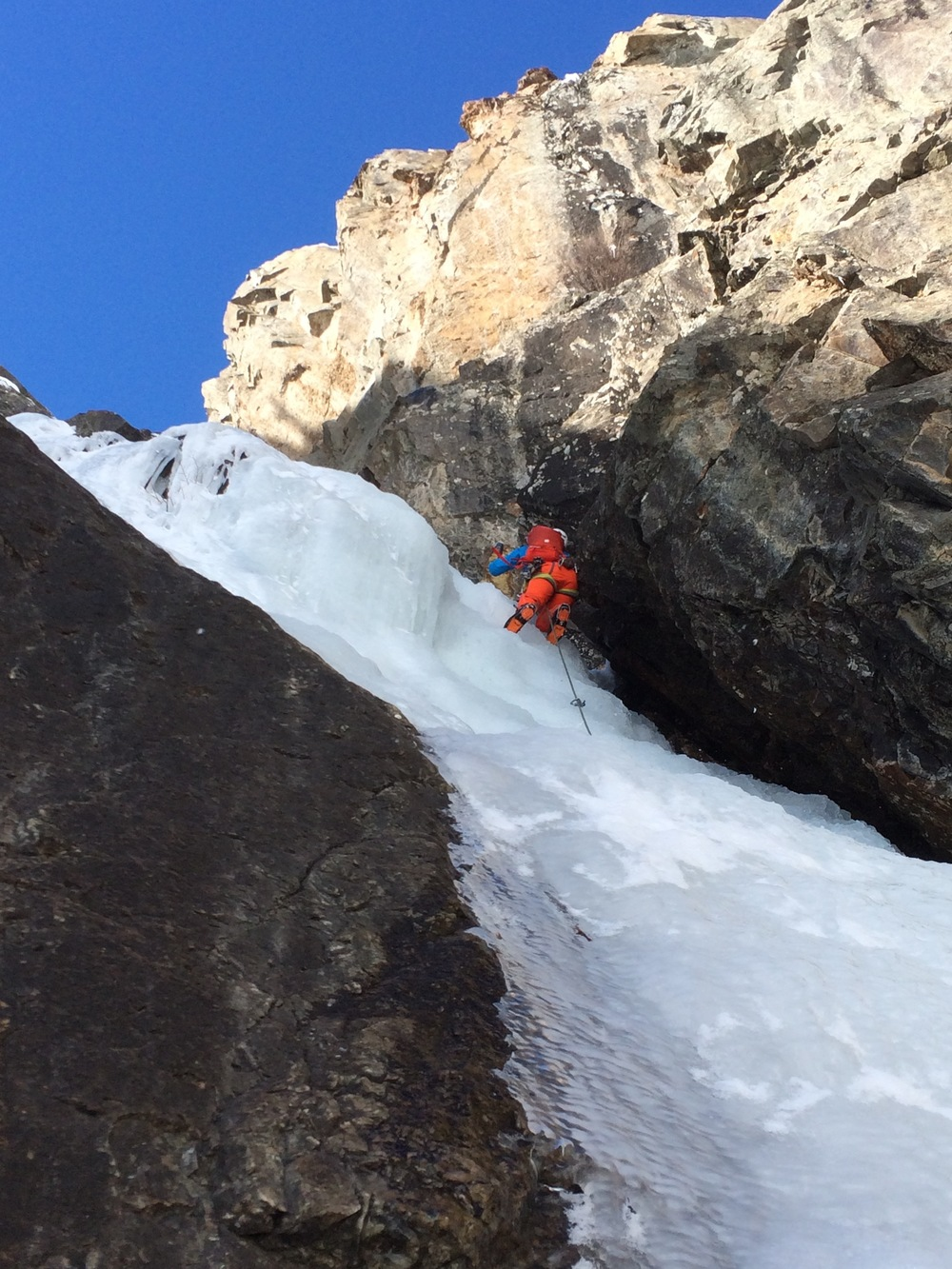 Erin in the lead on Goldrush in Eureka, CO on the AMGA Ice Instructor Course. Photo: Angela Hawse