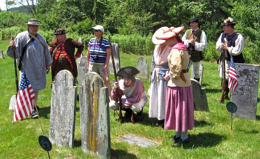 Whitcomb's Corps of Independent Rangers re-enactment group visits Major Benjamin Whitcomb's grave at Salmon Hole Cemetery on July 2, 2011.