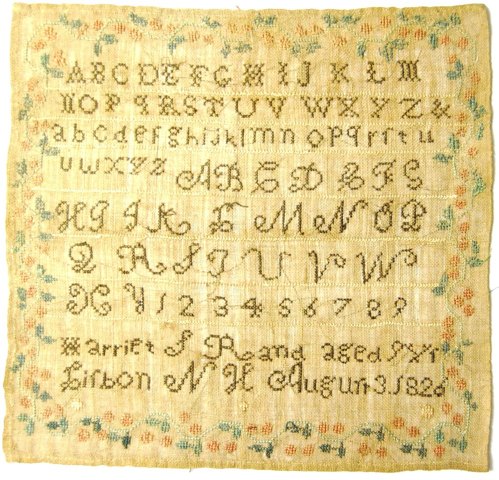 c. 1826 Sampler done by Harriet S. Rand, age 8, Lisbon, N.H., August 3, 1826.