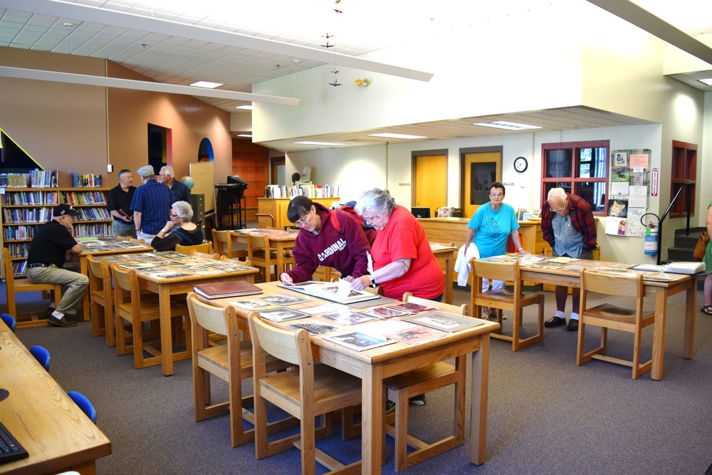 Alums enjoyed looking at the historical school display in the school library