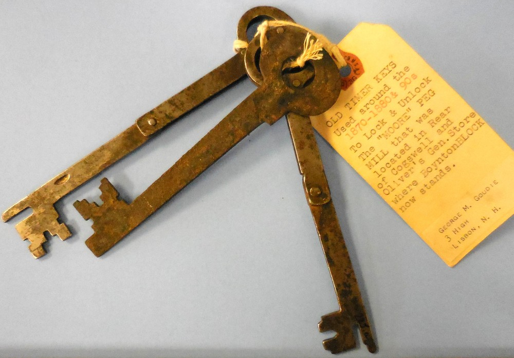 One of many interesting items in our collection: c. 1800s keys to the Moore Peg Mill. Read more about our amazing collection below (under Recent News) by clicking on the Do You Know What's In Our Museum? article.