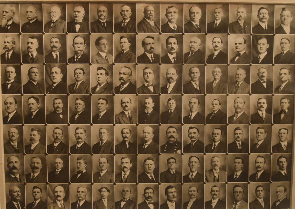 c. 1913 Class Picture of Business Leaders of Lisbon, N.H., by Lisbon photographer Irving James. Click on story below to learn more about these men and their part in the tremendous growth of Lisbon from 1850 into the early 1900s.