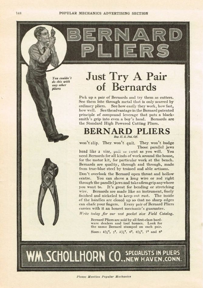 "Alexander Calder's favorite Mobile making tool.  Bernard Pliers ad from the book ""Calder"" by Jed Perl"