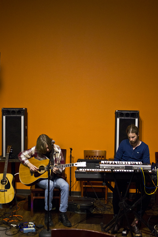 Merritt and Goodwin preforming during the exhibition.   Photo: Michael Bland