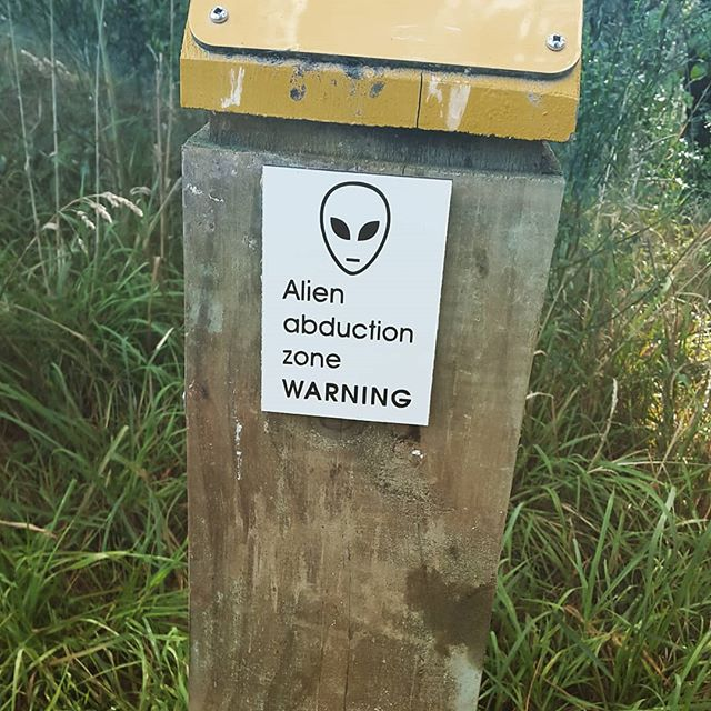 Apparently they have a big problem with alien abductions at Mt Victoria. #mtvictoria #wellington #newzealand #alien #abduction #extraterrestrial #newzealandtravel #humor #funny #quirky  #travel #outdoors #random #warning #paranormal #unexplained #ufo #thetruthisoutthere #sign #funnysign #trail  #walkingtrail #comedy #xfiles #middleearth #holyshit #isitsafe #talesofawanderingkiwi #doyoubelieve #what