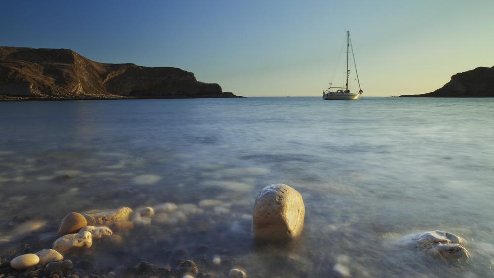 Yacht at anchor - Lulworth Bay