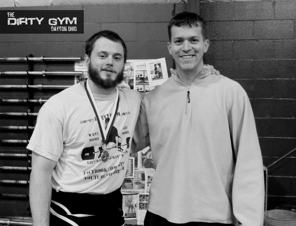 Coach Marcus and Coach Marty after Marcus' win at the Cincinnati Weightlifting Club USAW Meet in 2012.