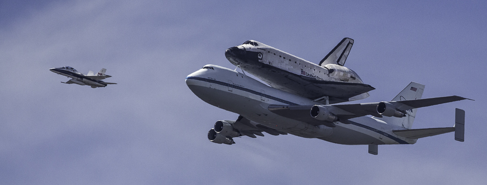 Endeavor arriving in Los Angeles, CA