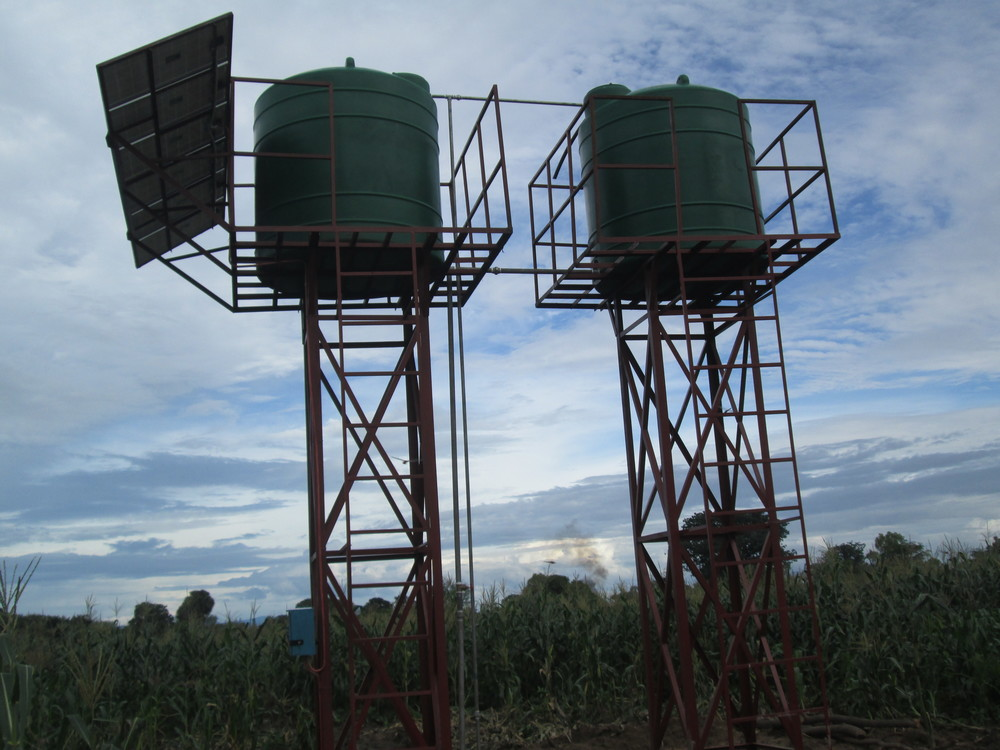 The water tanks and solar panels for the Chipoka irrigation system.