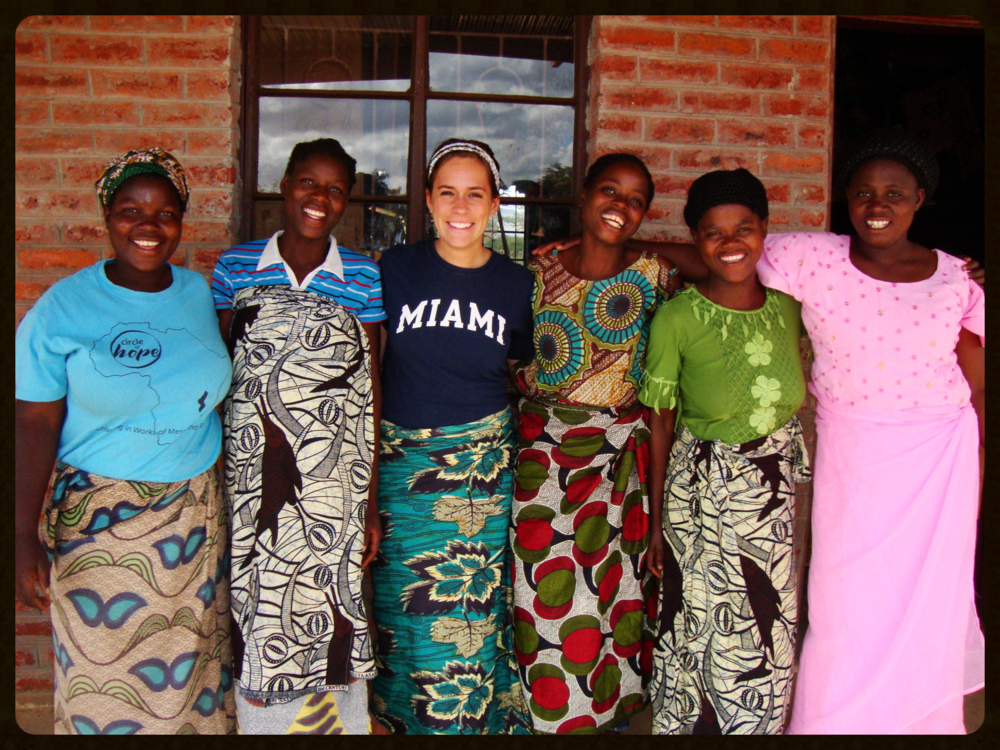 Kayla with the women who worked at the Hands of Grace Textile Center.