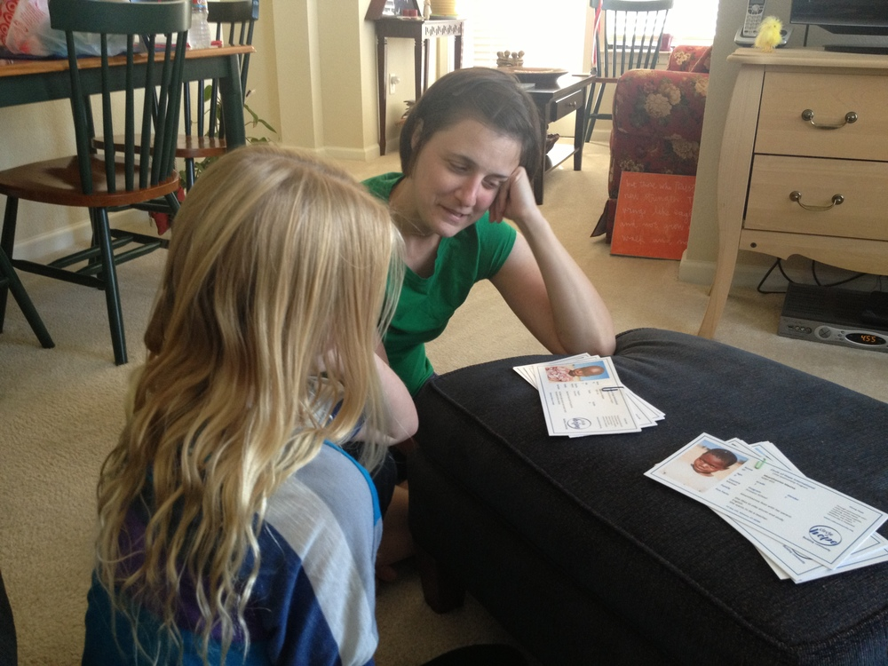 Kayla picking out her first sponsor kids!