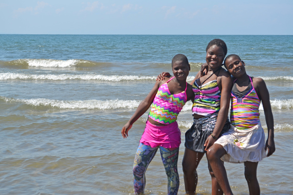 Elise, Naomi and Gladys -- loving their new swimsuits!