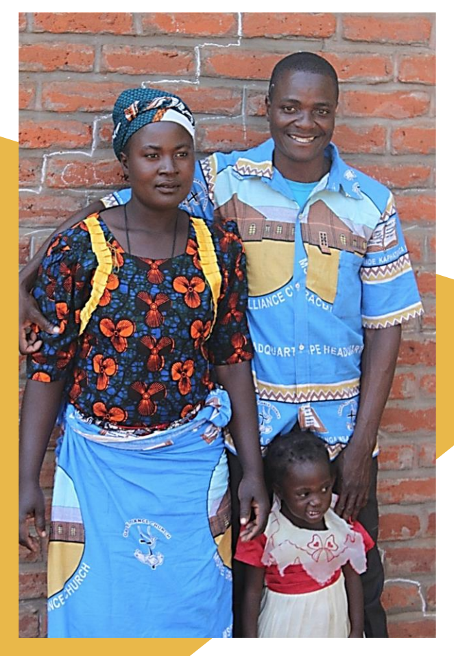 Isaac Banda , pictured here with his wife and daughter. Isaac teaches chapel and computers at Grace Primary School and serves as the school/church liaison.