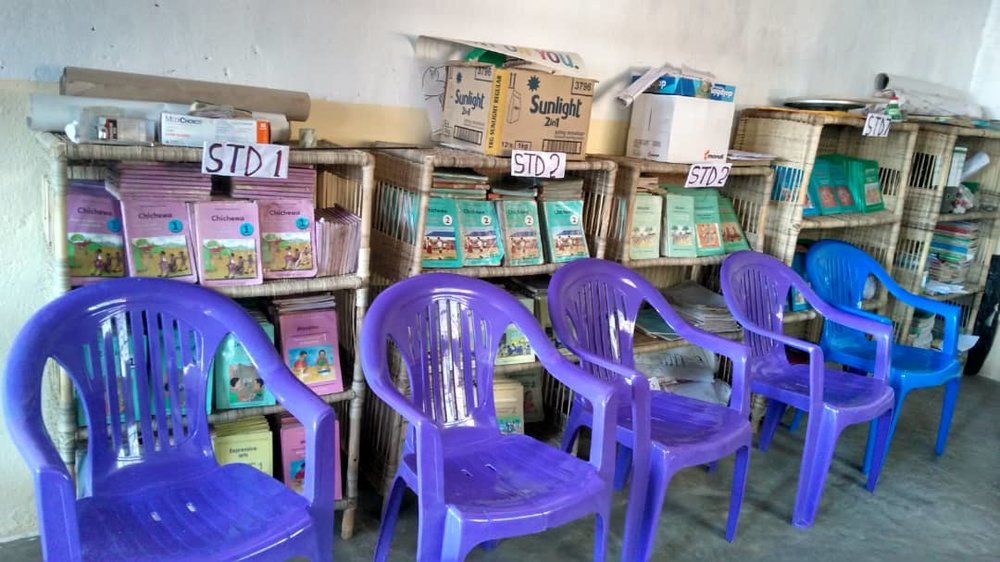 The Primary School Office with new chairs and the student books