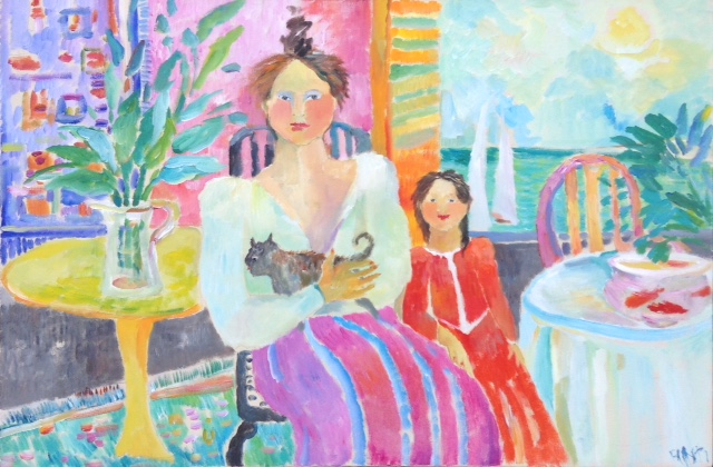 Woman, Child, and Cat