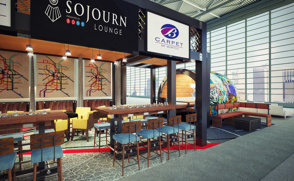 """Sojourn Lounge an """"Inspired"""" Booth design at BDNY 2014 designed by Design Poole, Inc. Sponsors: Artison Hospitality, Architex Fabric, B Carpet by Burtco, Hubbardton Forge Lighting, Wonderly's Drapery."""