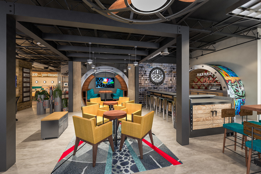 The bar serves as a Concierge are for coffee service, business supplies and printer use.  Ample charging stations at the bar are available for work or play while you socialize near the lounge seating.