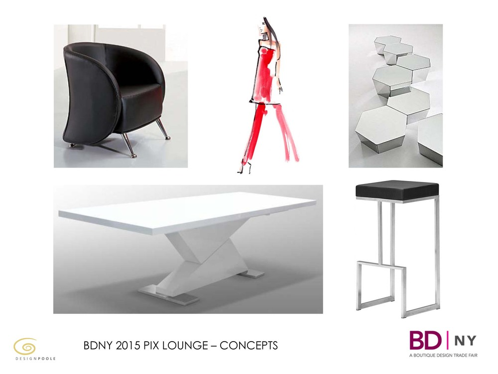 Striking shapes pose high fashion style within the space in stark white lacquer finish.  Custom seating and casegoods will be provided by Ariston Hospitality.