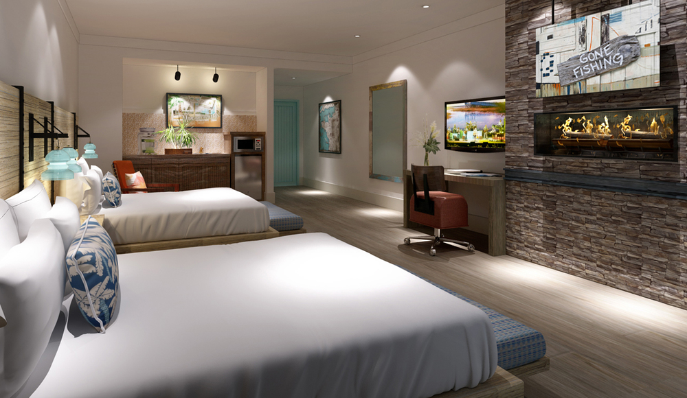 Double Guestroom at Margaritaville Pigeon Forge Interior Design by Design Poole