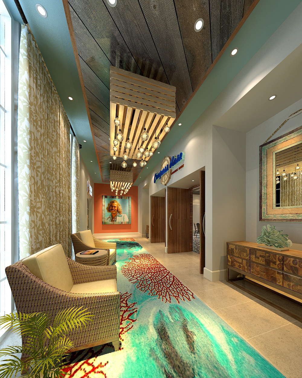 Lobby Lounge at Margaritaville Pigeon Forge Interior Design by Design Poole