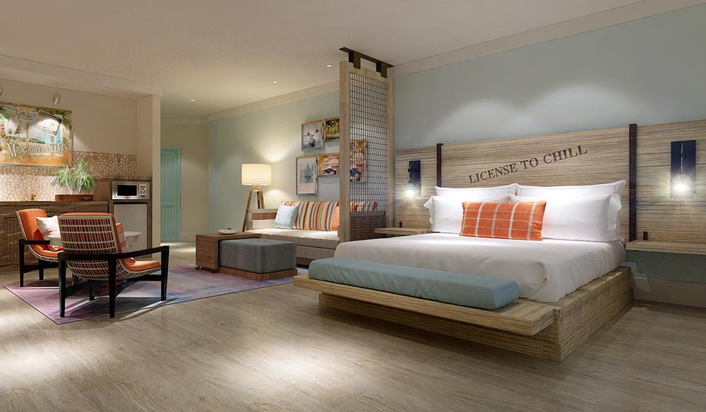 King Guestroom at Margaritaville Pigeon Forge Interior Design by Design Poole