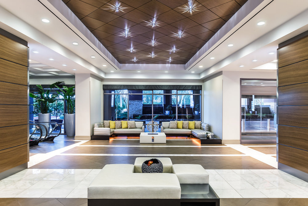 Lobby of Desert Blue Resort in Las Vegas, NV by Design Poole, Inc in Winter Park Florida