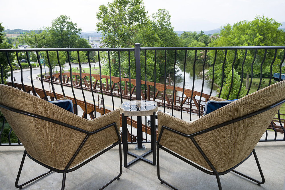 Balcony at Margaritaville Island Hotel, in Pigeon Forge, TN, Designed by Design Poole, Inc in Winter Park Florida