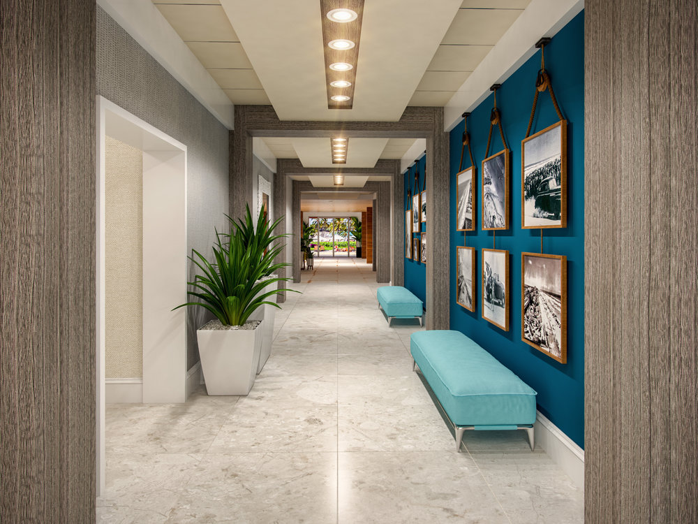 Corridor at Delta Hotel Daytona Shores, in Daytona Beach, FL, Designed by Design Poole, Inc in Winter Park Florida