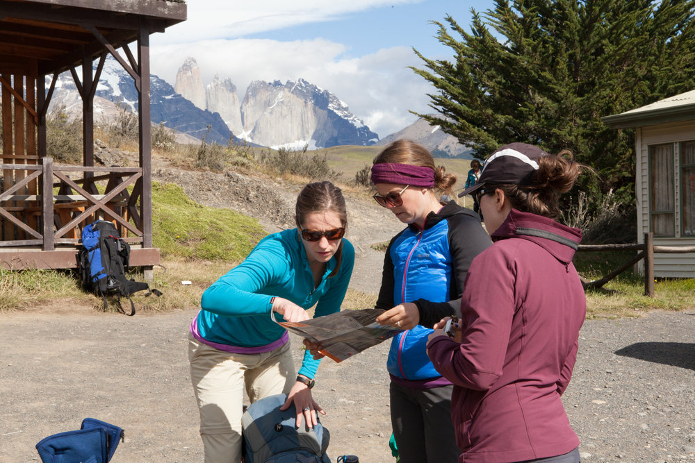 Martha, Callie, and Rachel consult the park map as we began the first leg of the trip.