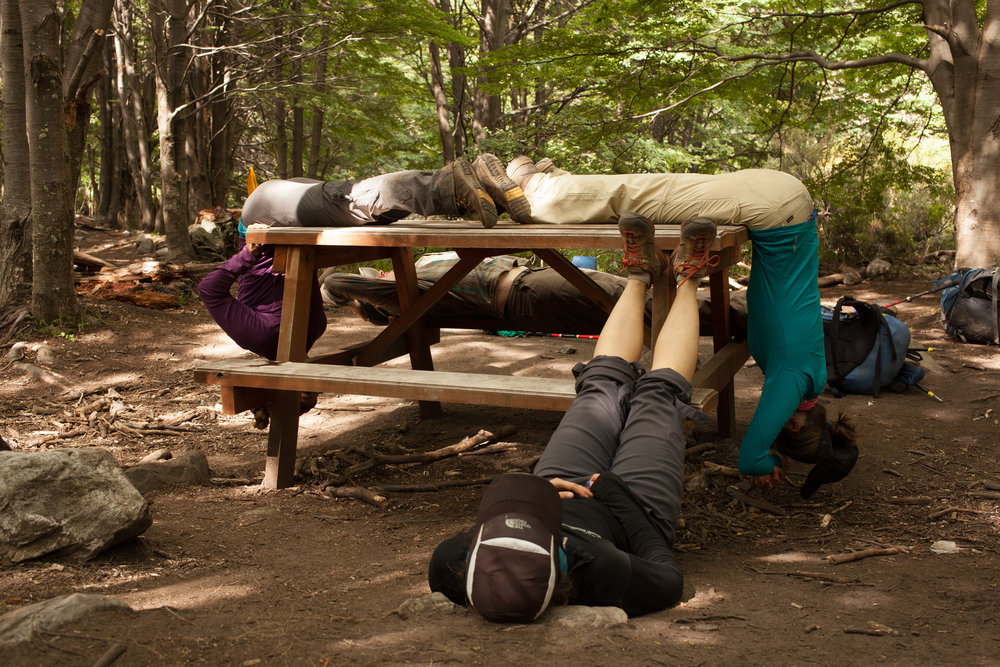 Picnic table yoga.
