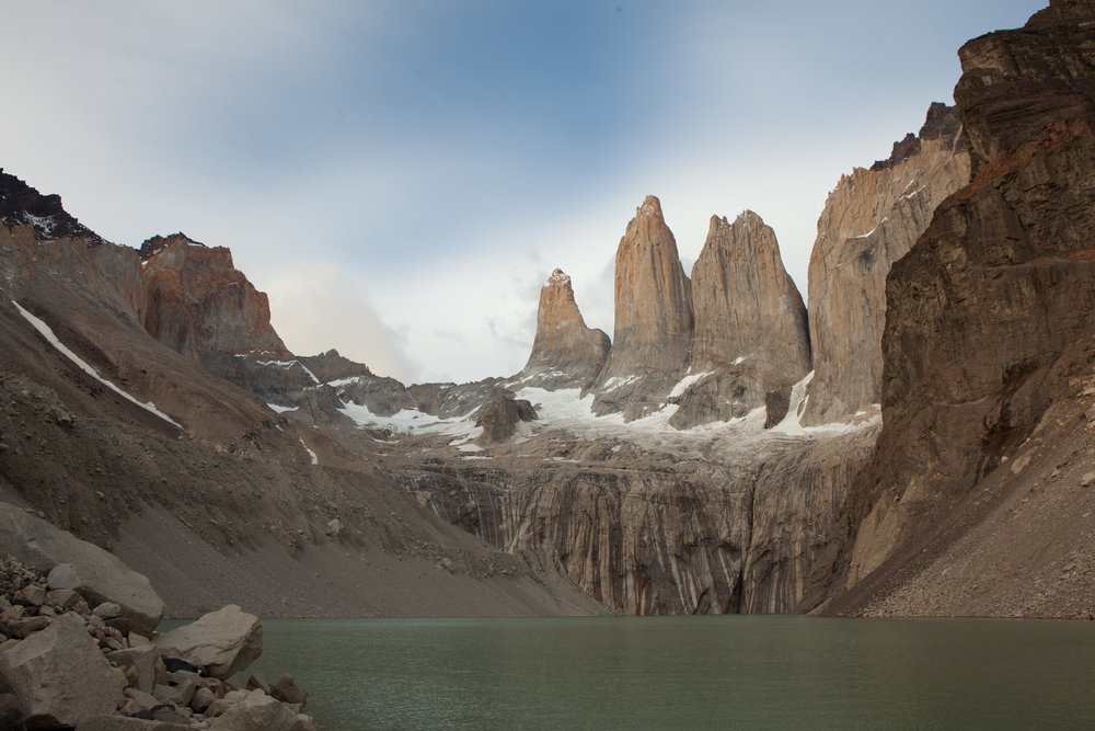 We hiked in the dark up to the base of the Torres spires to sit and watch the sun rise.