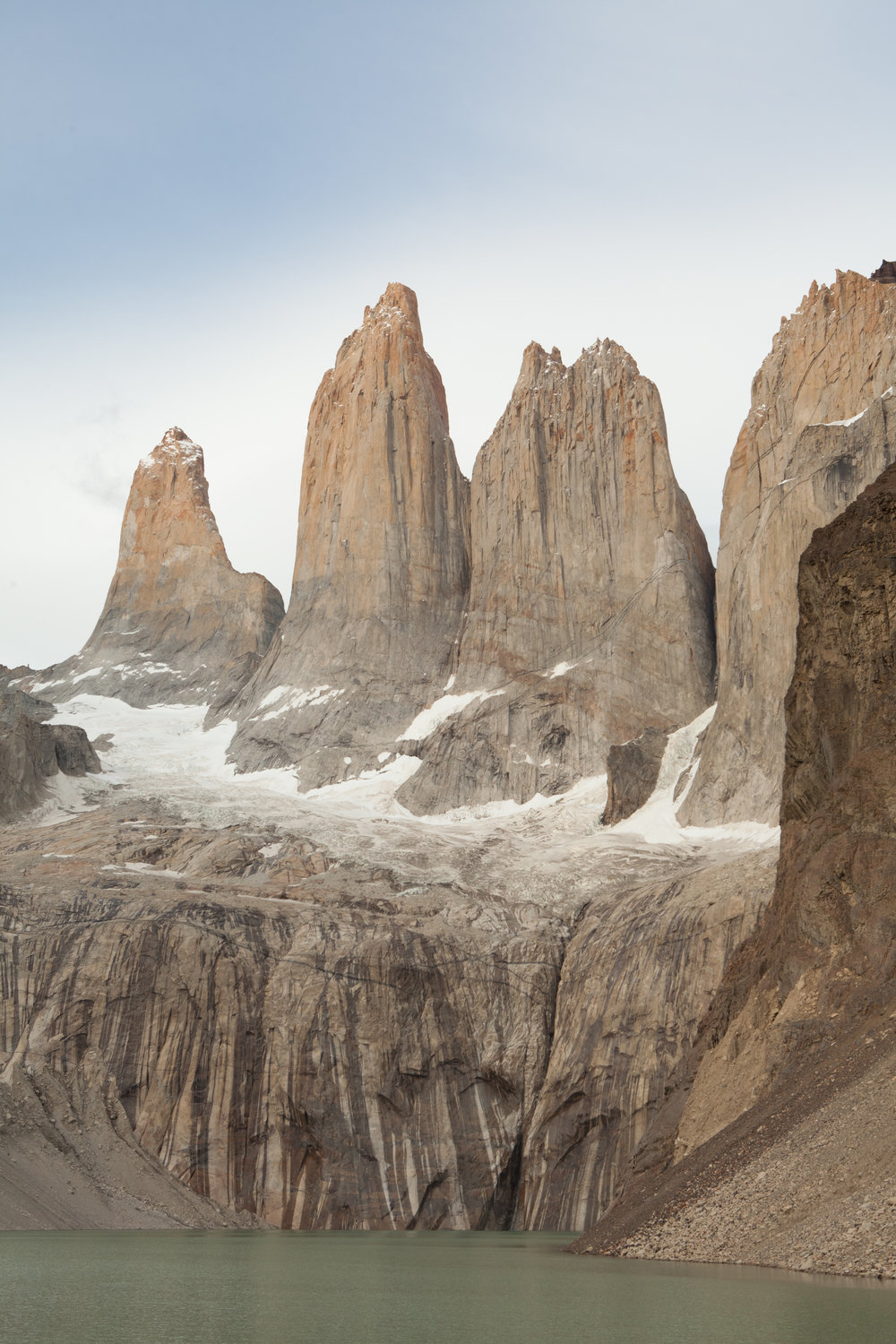 Torres Del Paine spires.   We lucked out with great weather and clear skies.   The sunrise was lovely even though we didn't see famed red glow.   After the sunrise, we said goodbye to the spires and began our trek out of the park.