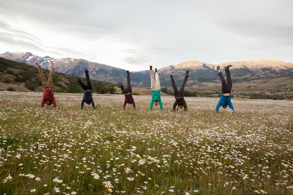 Handstands in daisies in Patagonia.