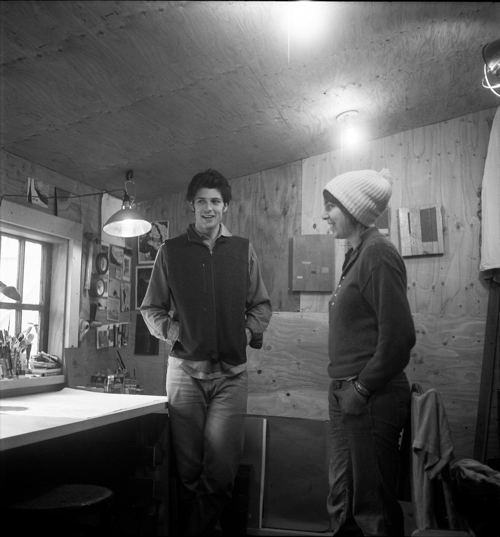 Grant Haynes and Christine Hulburt in Grant's art studio. Port Townsend, 2011.