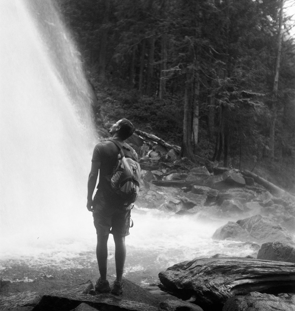 Mike and a waterfall hiking from Lake Serene.  ~2012.
