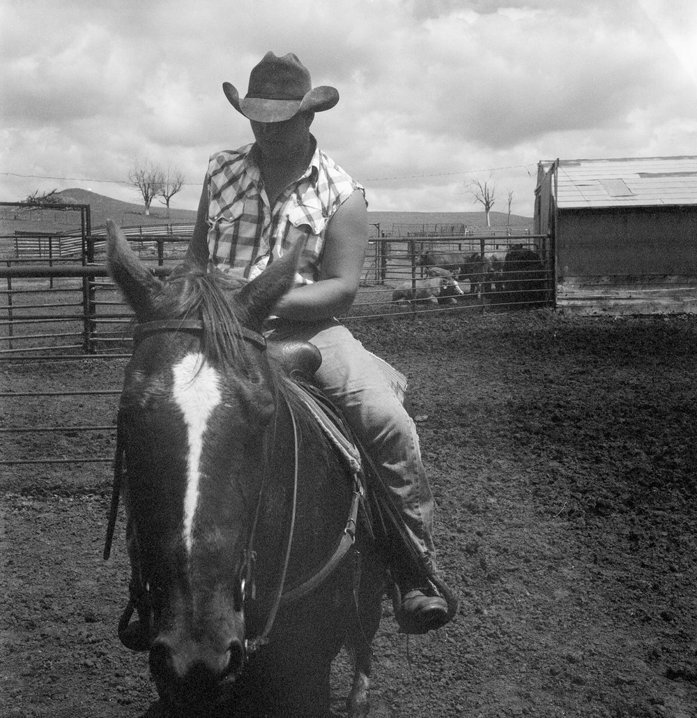 Tyrel Messer, Beaver Creek Ranch, 2011.  (Color film converted to B&W.)
