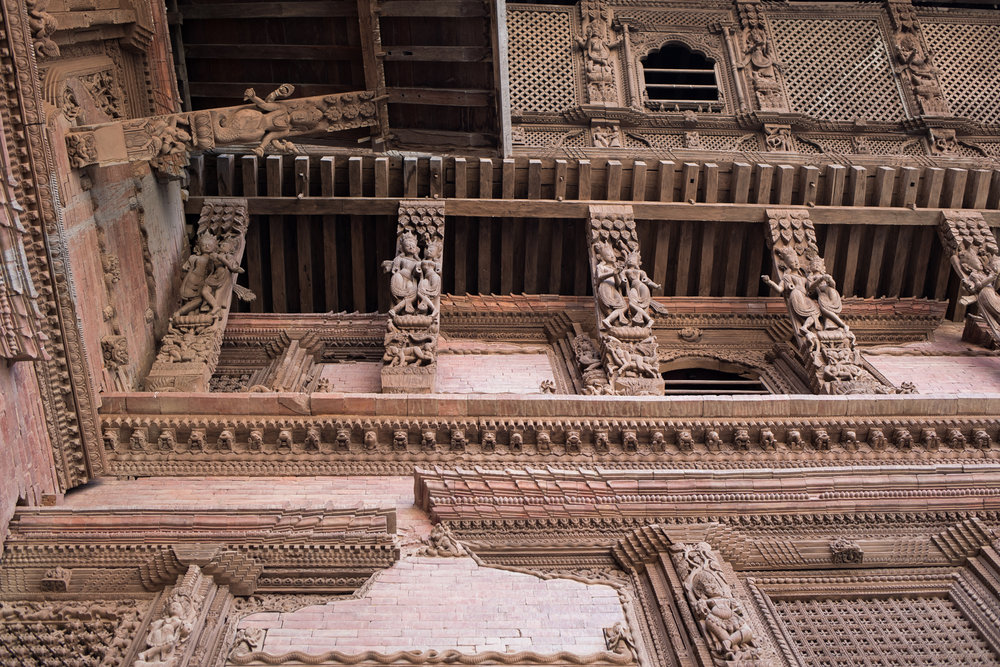 Many of the ancient buildings were built with brick and embellished with hand-carved wood features. This photograph was taken in the old palace.
