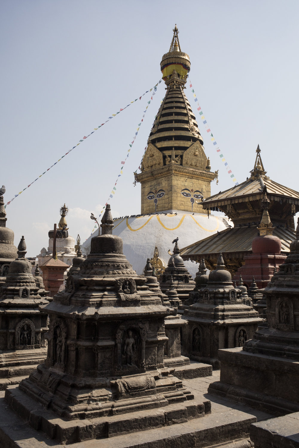 Small stupas surround Swayambhunath.