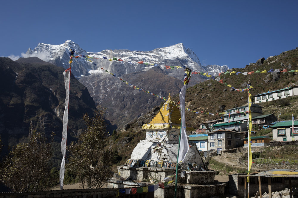 When you enter the village of Namche Baazar you are greeted with an incredible view of  the peaks of Kongde Ri and a Stupa at the center of the community.  Namche Baazar is a key trade town in the Everest valley.  The village sits at 3,440 m.